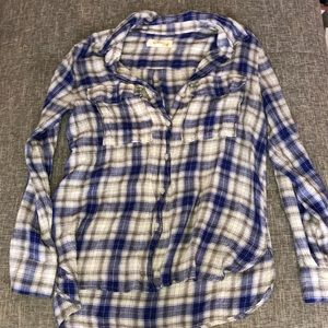 Two by Vince Camuto Plaid Blue/Gray/Plaid Shirt